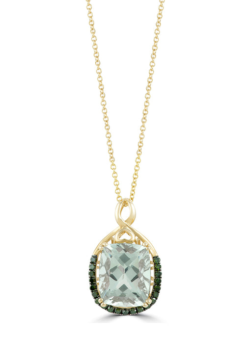 Effy 14K Yellow Gold Green Amethyst and Diamond Pendant, 3.80 TCW