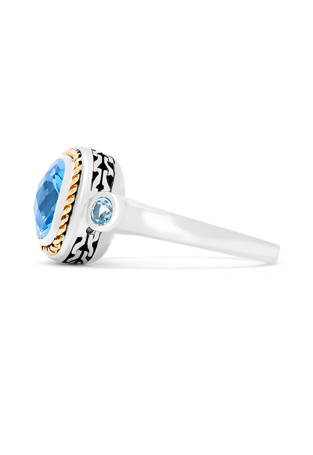 Effy 925 Sterling Silver & 18K Gold Accented Blue Topaz Ring, 2.09 TCW