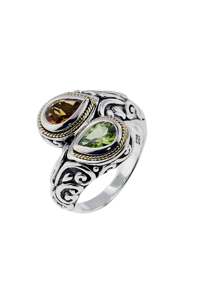 Effy Sterling Silver & 18K Gold Peridot and Citrine Ring, 1.33 TCW
