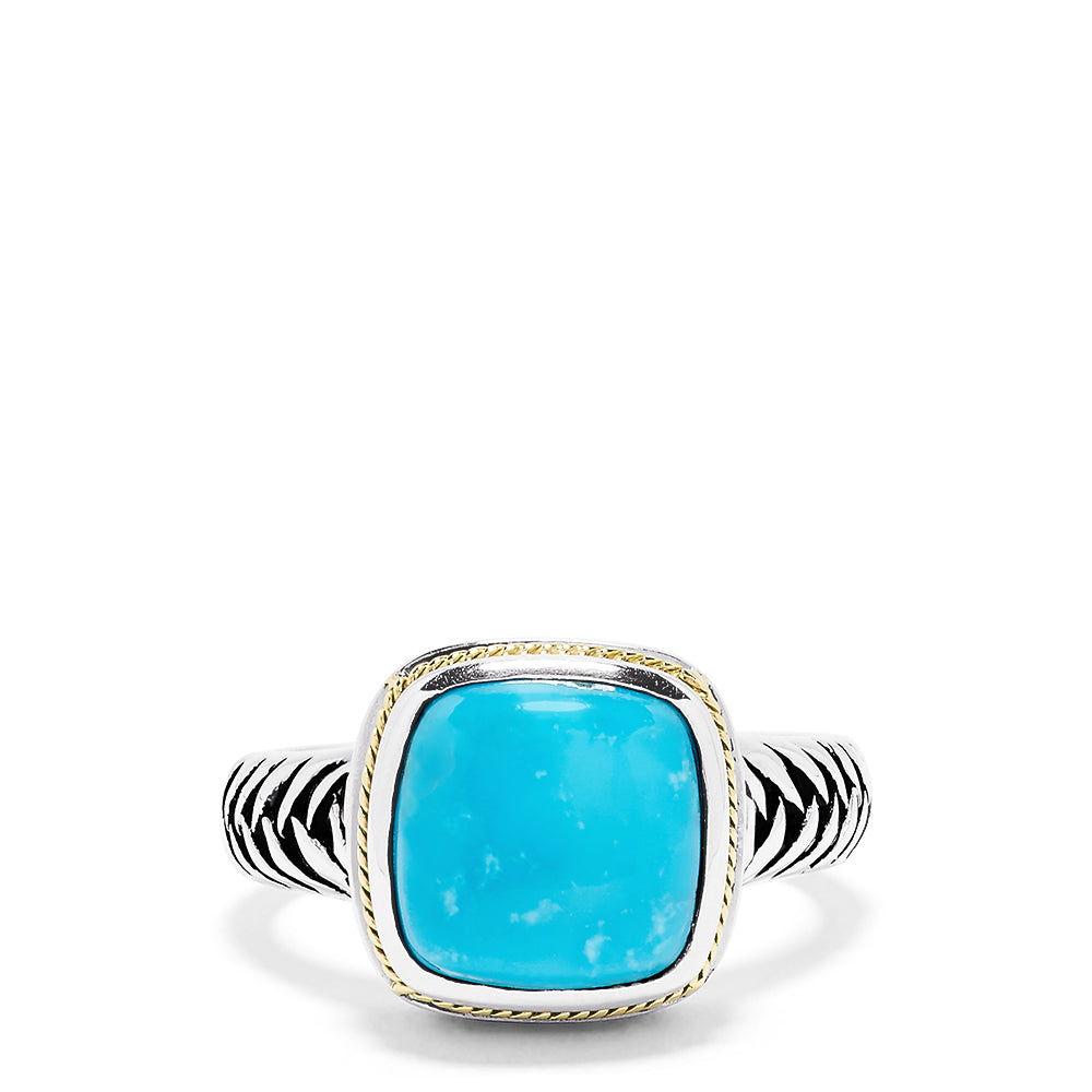 Effy 925 Sterling Silver and 18K Yellow Gold Turquoise Ring, 4.40 TCW