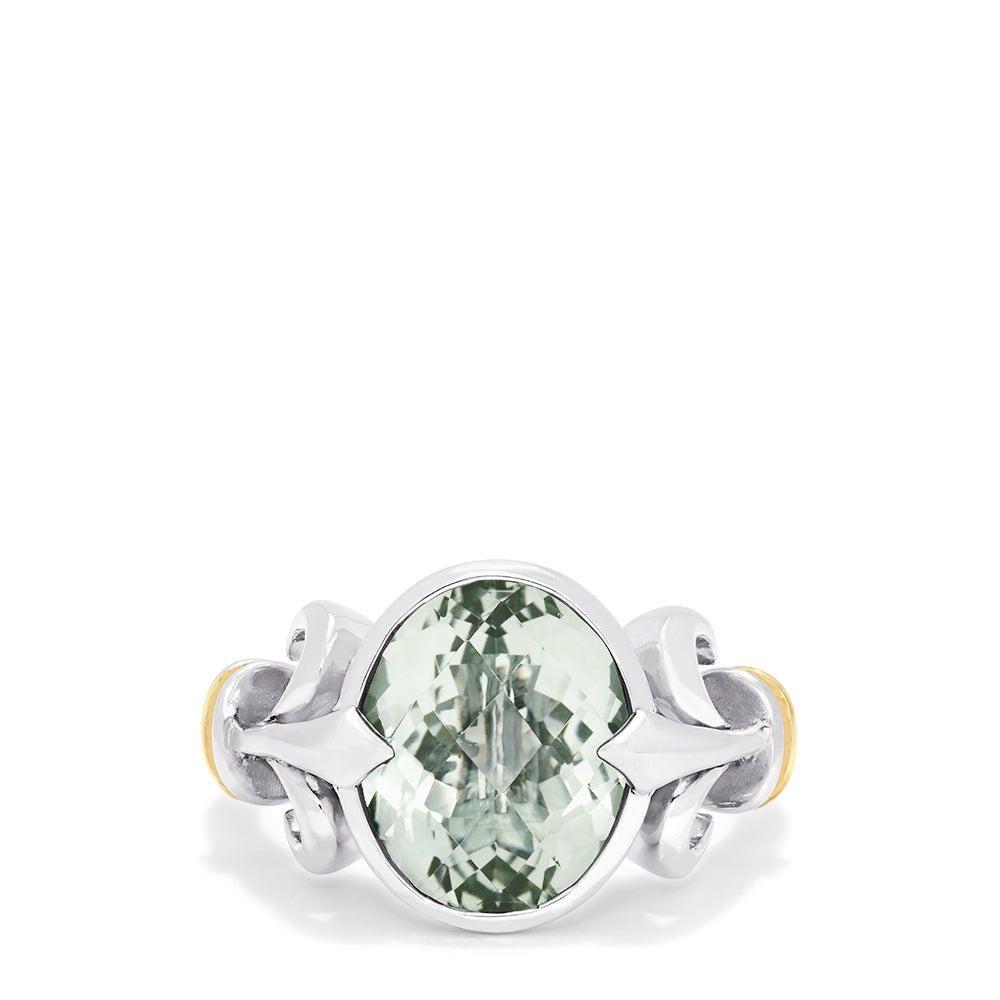 Effy 925 Sterling Silver and 18K Gold Green Amethyst Ring, 4.70 TCW
