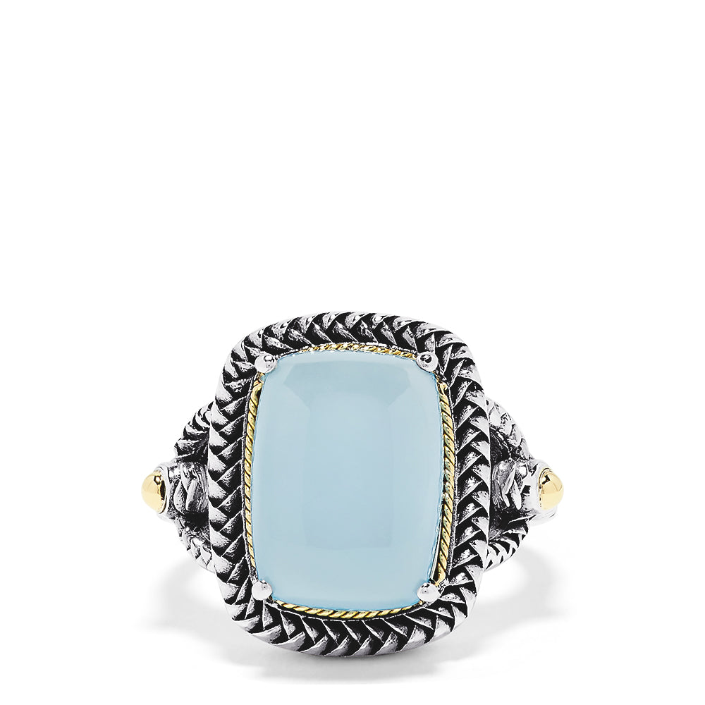Effy 925 Sterling Silver and 18K Yellow Gold Chalcedony Ring, 10.10 TCW
