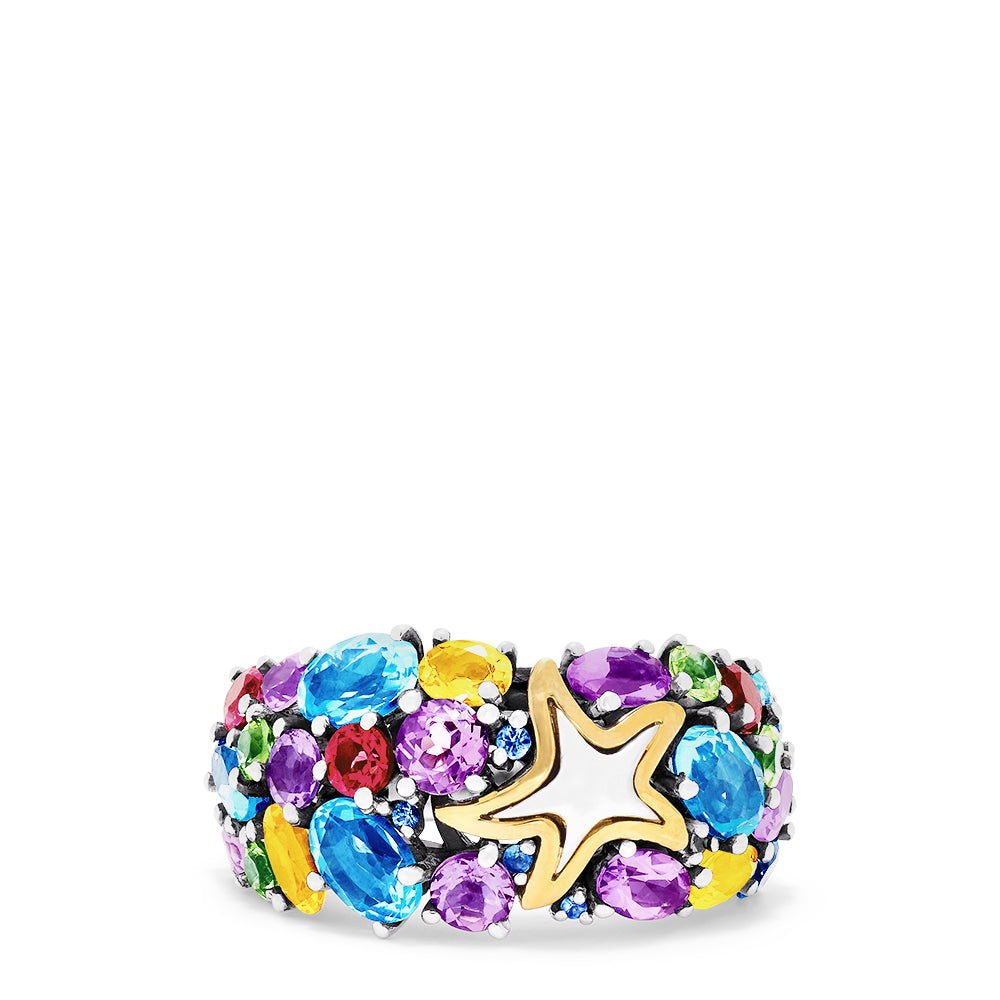 Effy Seaside Sterling Silver Multi Gemstone Starfish Ring, 5.66 TCW