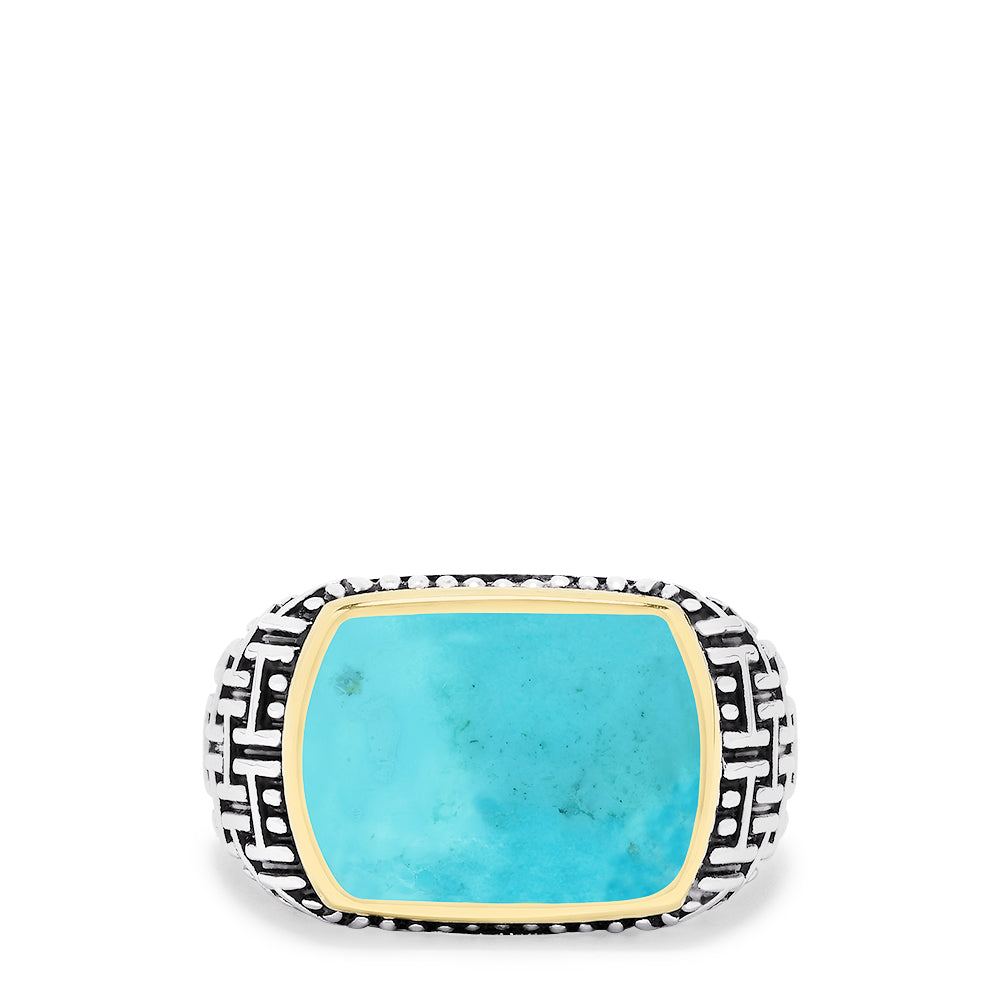 Effy Men's Sterling Silver & 18K Gold Accented Turquoise Ring, 0.45 TCW