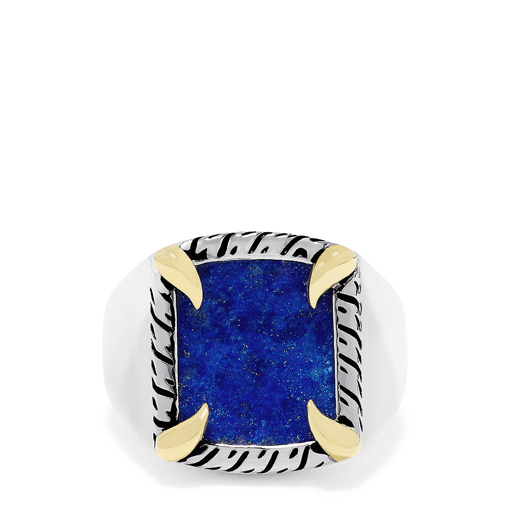 Effy Men's Sterling Silver & 18K Gold Accented Lapis Lazuli Ring, 6.05 TCW