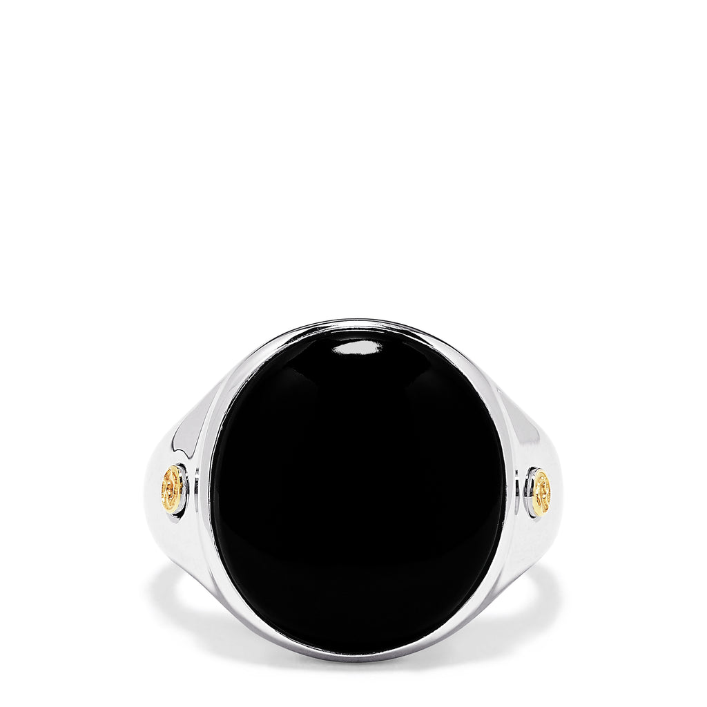Effy Men's Sterling Silver and 18K Yellow Gold Round Onyx Ring, 10.95 TCW