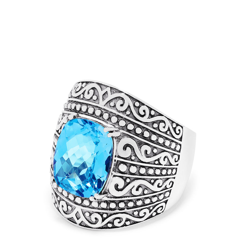 Effy 925 Sterling Silver Blue Topaz Ring, 6.65 TCW
