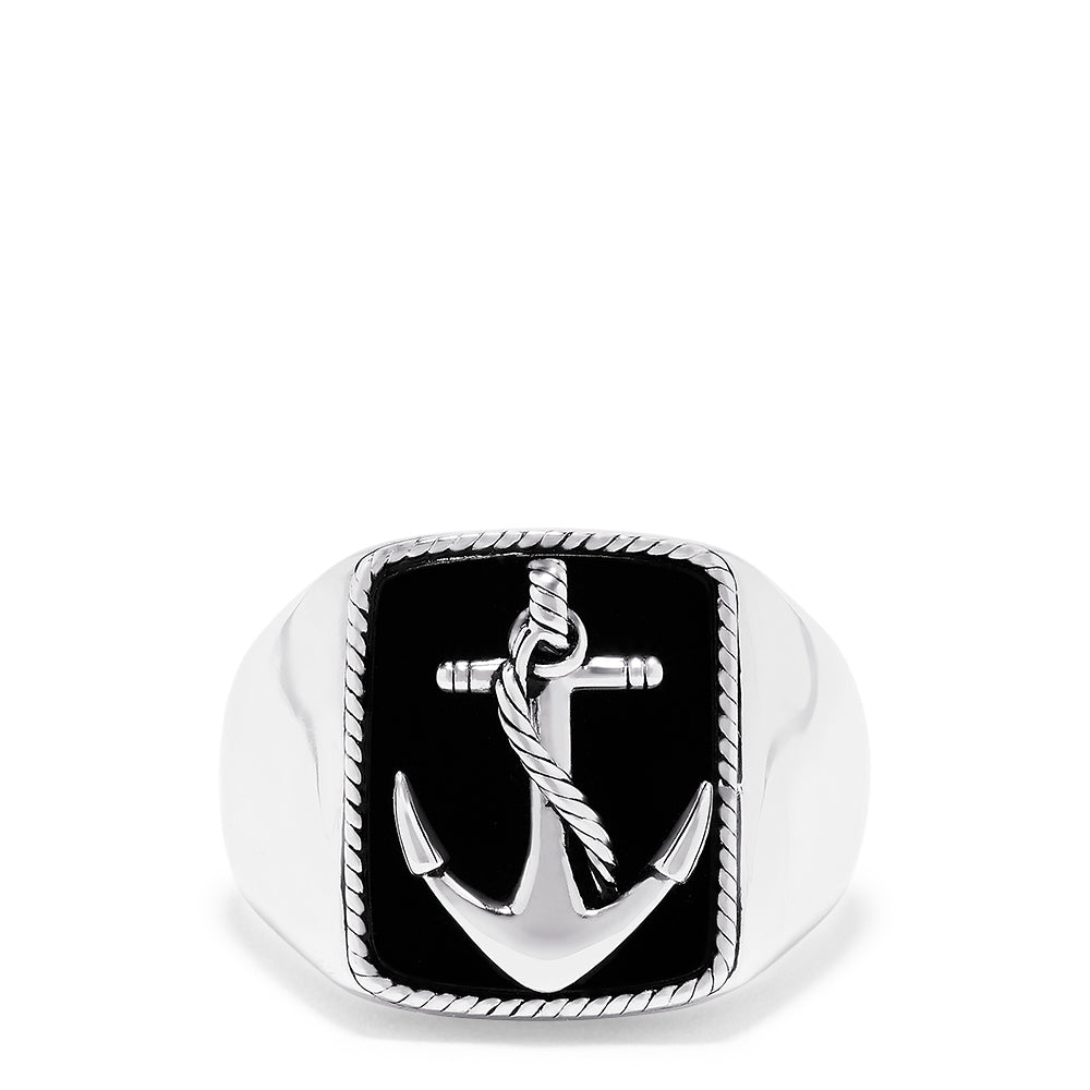 Effy Men's Sterling Silver Onyx Anchor Ring, 6.00 TCW