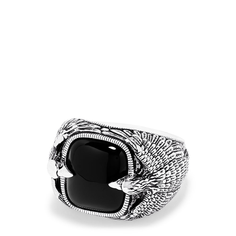 Effy Men's Sterling Silver Double Eagle Onyx Ring, 10.05 TCW