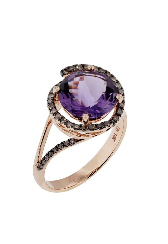 14K Rose Gold Amethyst & Cognac Diamond Ring