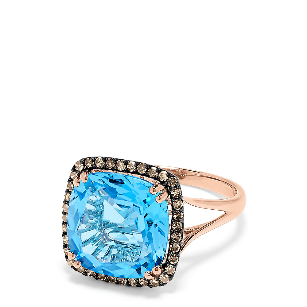 Effy 14K Rose Gold Blue Topaz and Diamond Ring, 8.30 TCW