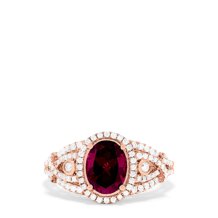 Effy 14K Rose Gold Oval Rhodolite Garnet and Diamond Ring, 2.86 TCW