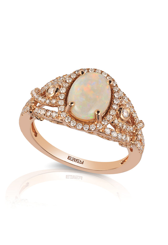 Effy Aurora 14K Rose Gold Opal and Diamond Ring, 1.51 TCW