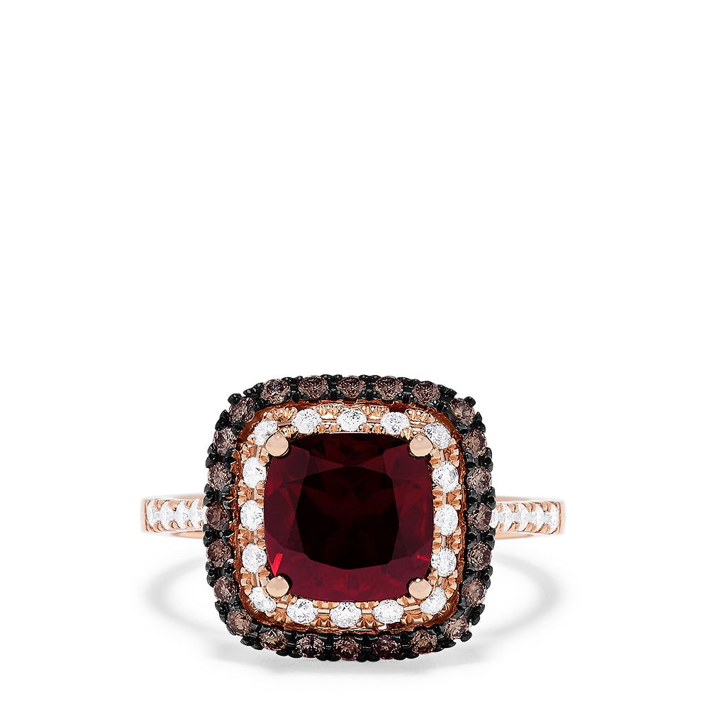 Effy 14K Rose Gold Rhodolite Garnet and Diamond Ring, 3.24 TCW