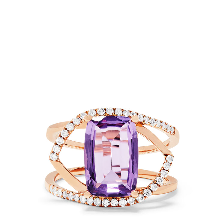Effy 14K Rose Gold Amethyst and Diamond Ring, 3.38 TCW