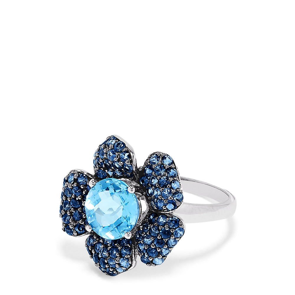 Effy 14K White Gold Blue Topaz and Sapphire Flower Ring, 3.84 TCW