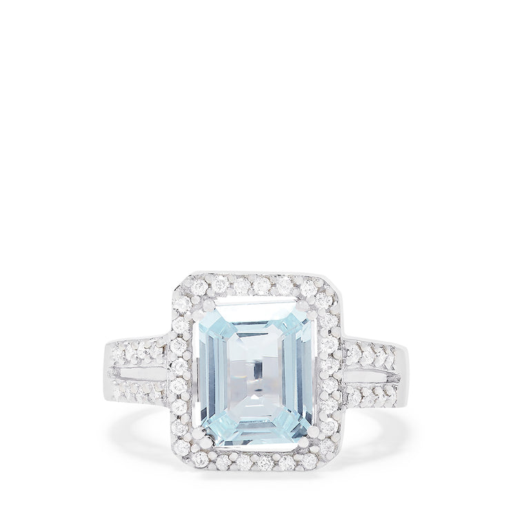 Effy 14K White Gold Aquamarine and Diamond Ring, 3.19 TCW