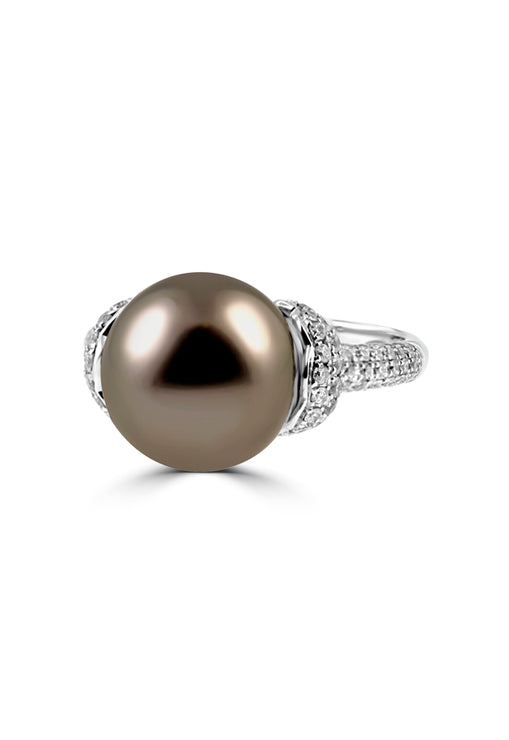 Effy 14K White Gold Cultured Pearl and Diamond Ring, 0.75 TCW