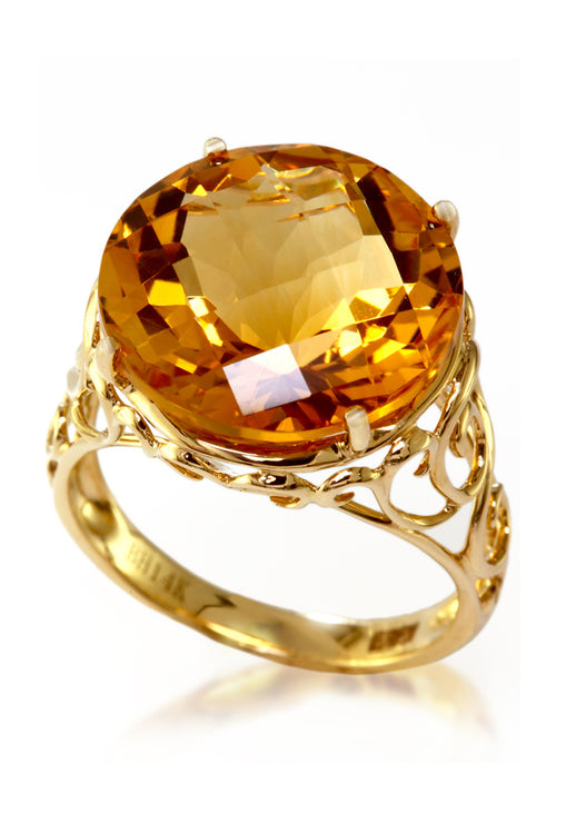 14K Yellow Gold Citrine Ring, 10.80 TCW