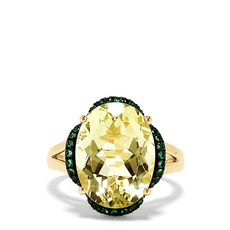 Effy 14K Yellow Gold Lemon Quartz and Tsavorite Ring, 9.30 TCW