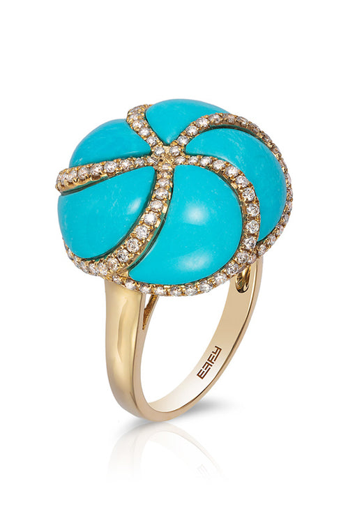 14K Yellow Gold Turquoise and Diamond Ring, 7.18 TCW
