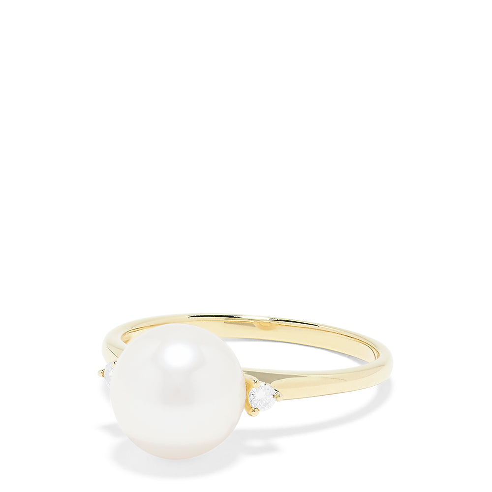 Effy 14K Yellow Gold Cultured Pearl and Diamond Accented Ring, 0.05 TCW