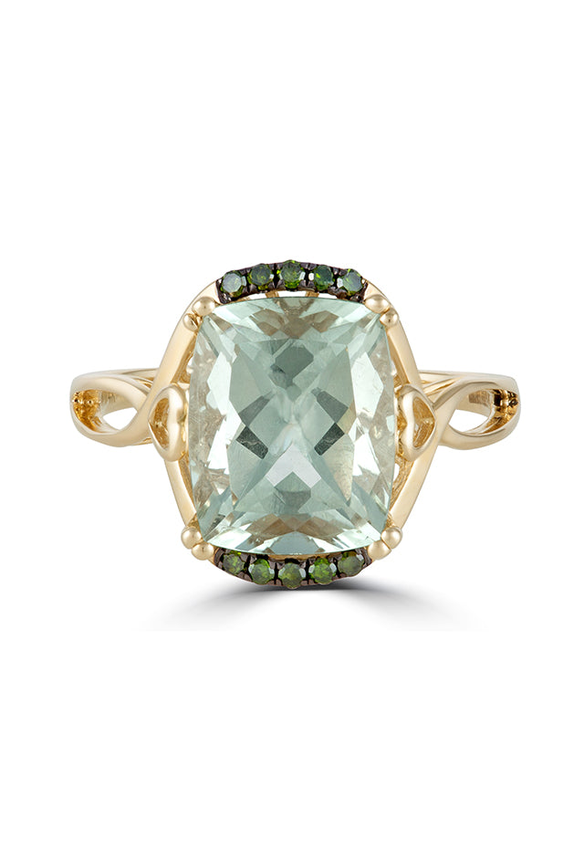 Effy 14K Yellow Gold Green Amethyst and Diamond Ring, 3.73 TCW