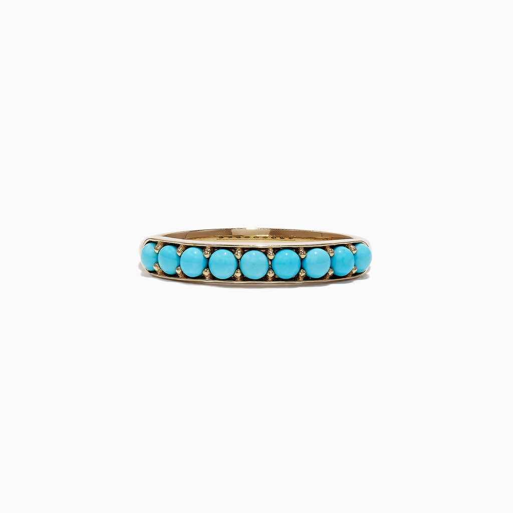 Effy 14K Yellow Gold Turquoise Band Ring, 0.70 TCW