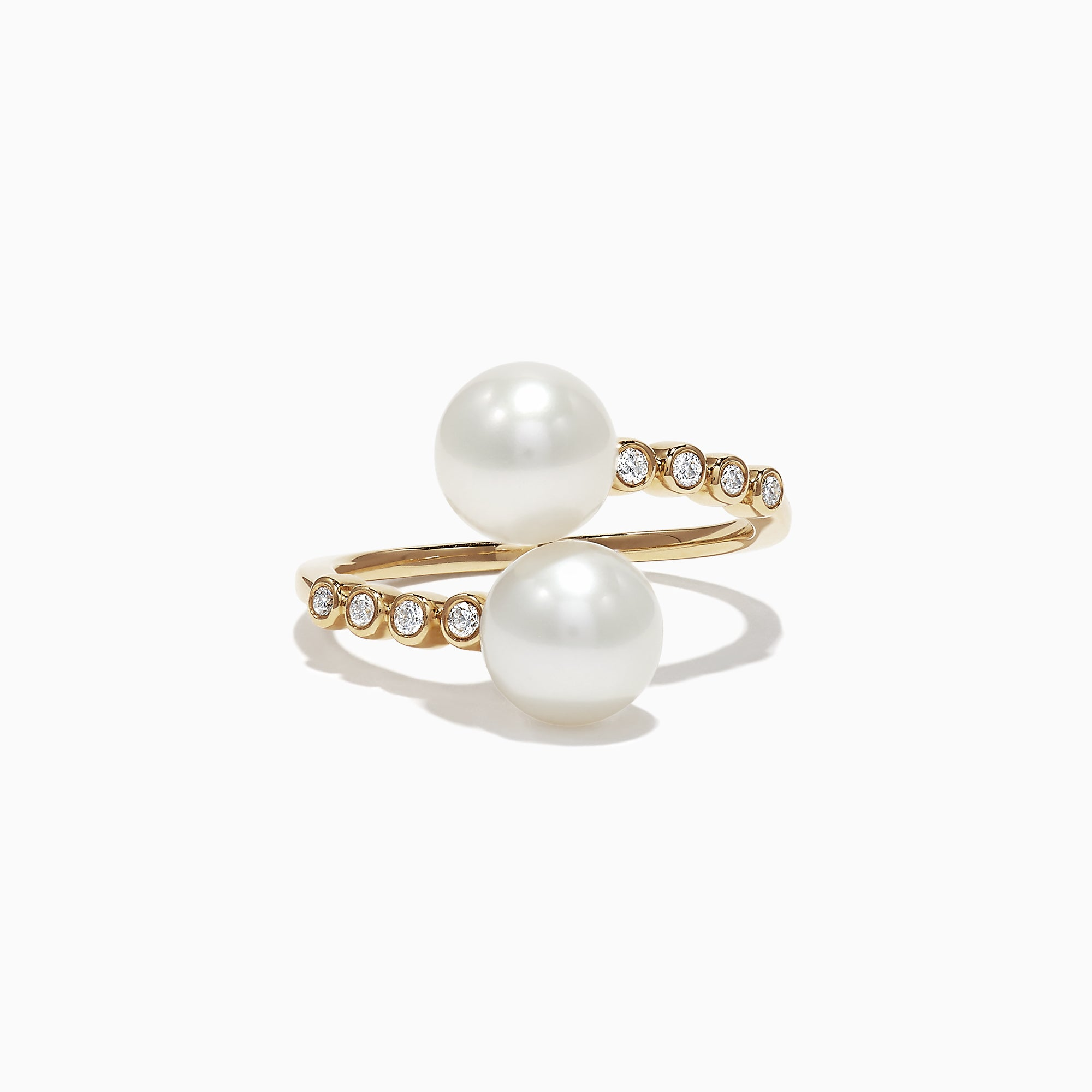 Effy 14K Yellow Gold Diamond and Fresh Water Pearl Ring, 0.09 TCW