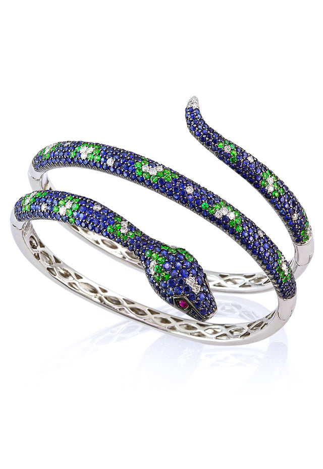 Jardin Multi Sapphire & Diamond Snake Bangle, 10.85 TCW
