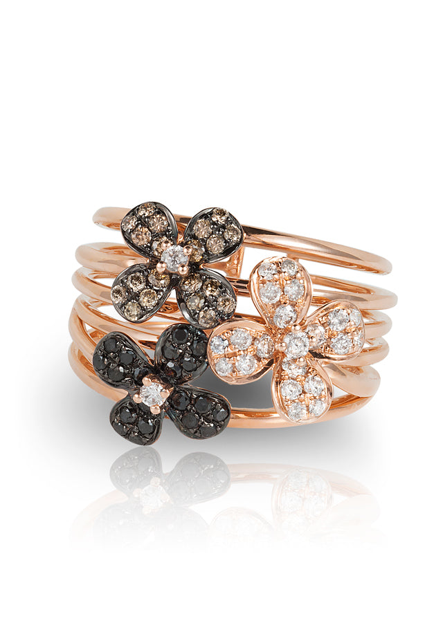 Effy Nature 14K Rose Gold Diamond Flowers Ring, 0.70 TCW