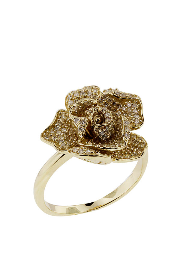 Jardin Bloom 14K Yellow Gold Diamond Flower Ring