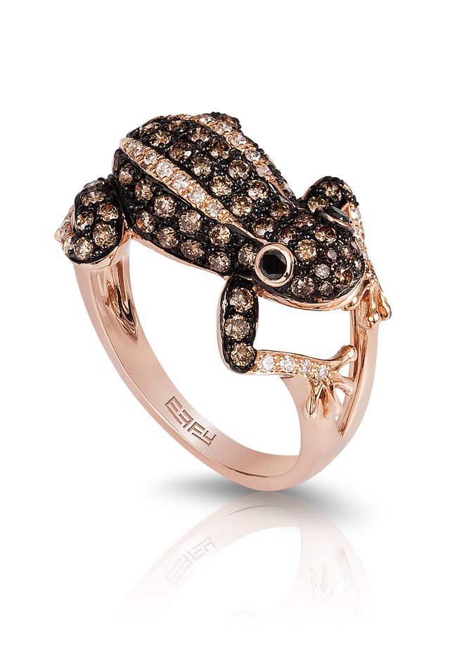Effy Safari Black, Cognac & White Diamond Frog Ring