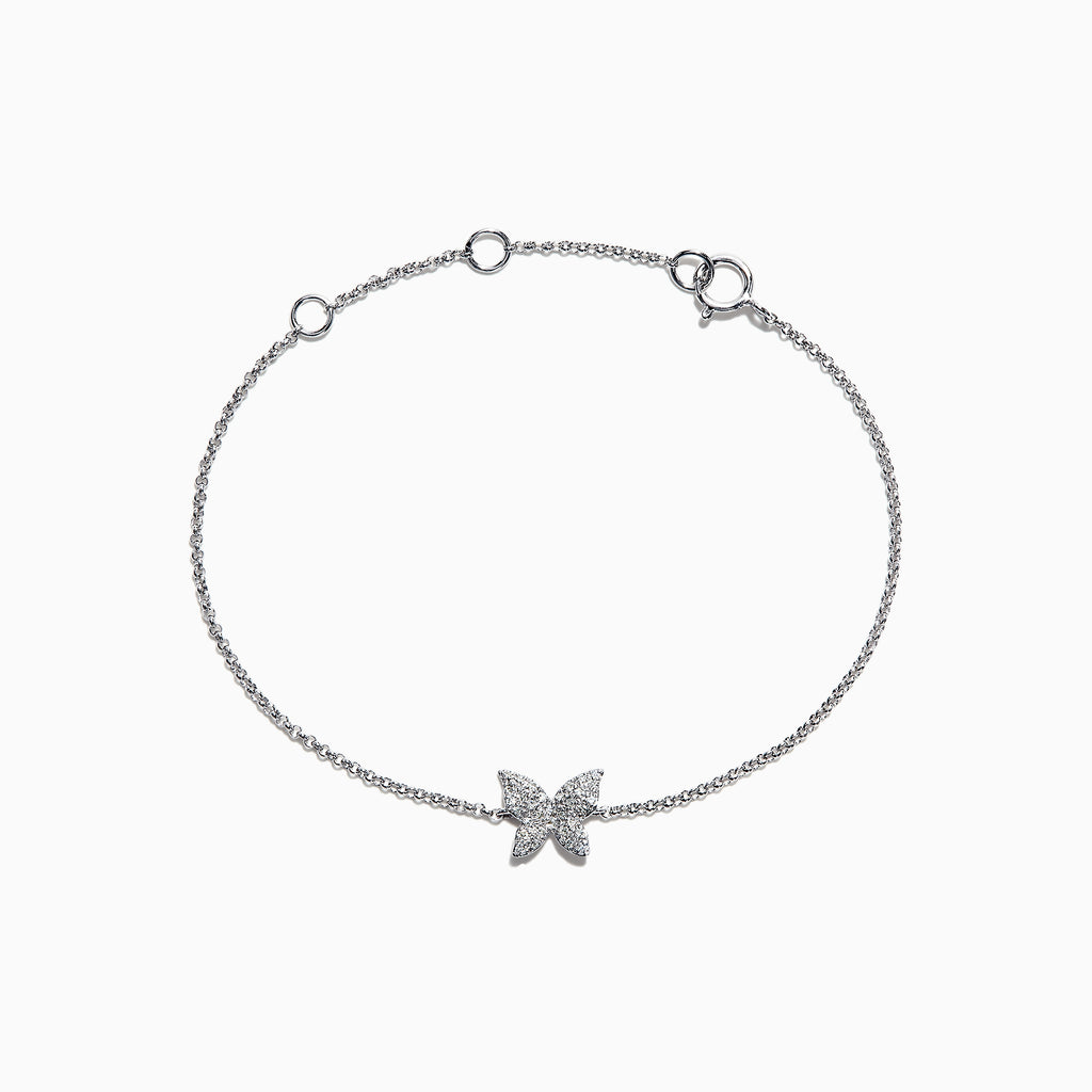 Effy Kidz 14K White Gold Diamond Butterfly Bracelet, 0.10 TCW