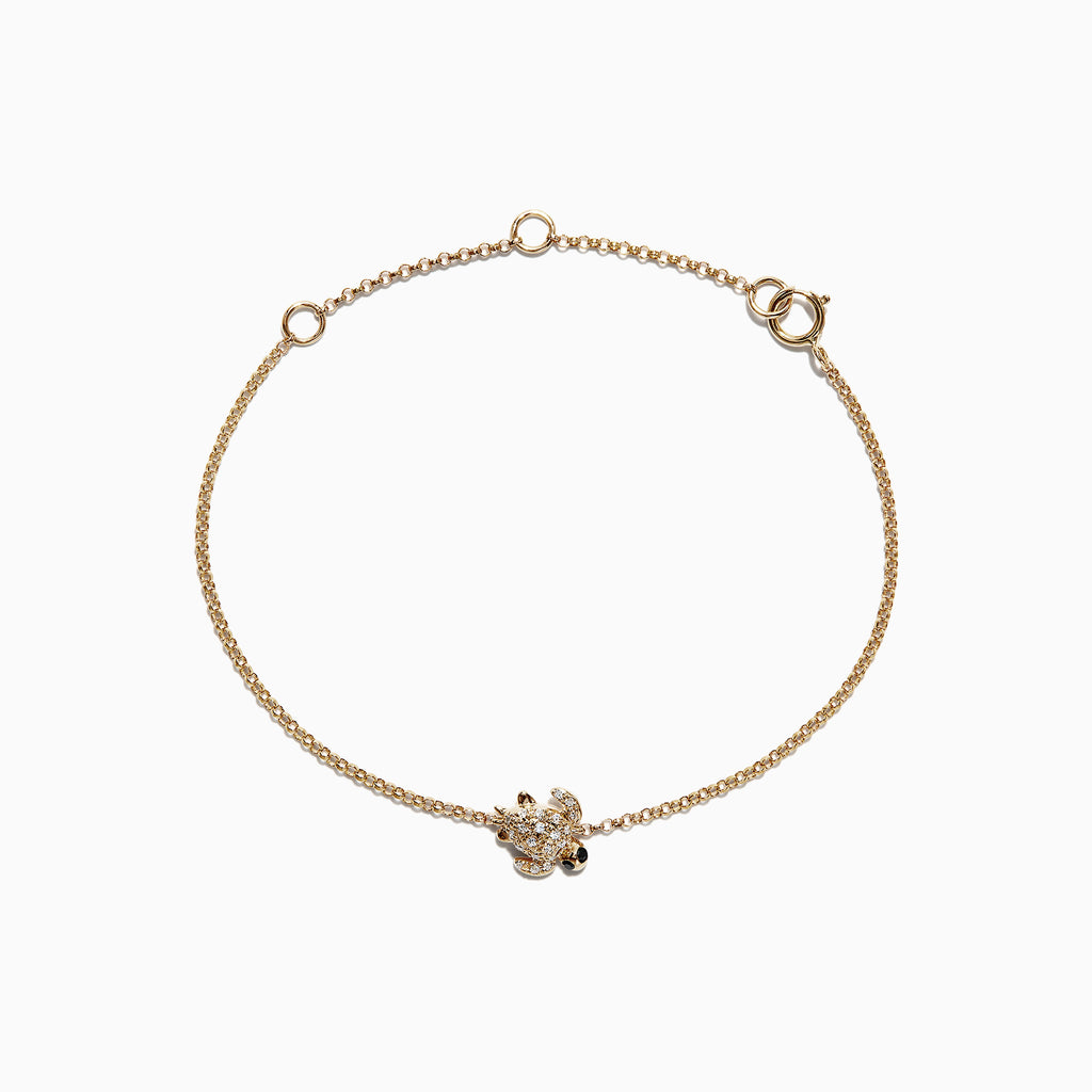 Effy Kidz 14K Yellow Gold Diamond Turtle Bracelet, 0.10 TCW