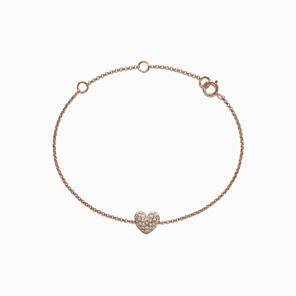 Effy Kidz 14K Rose Gold Diamond Heart Bracelet, 0.14 TCW