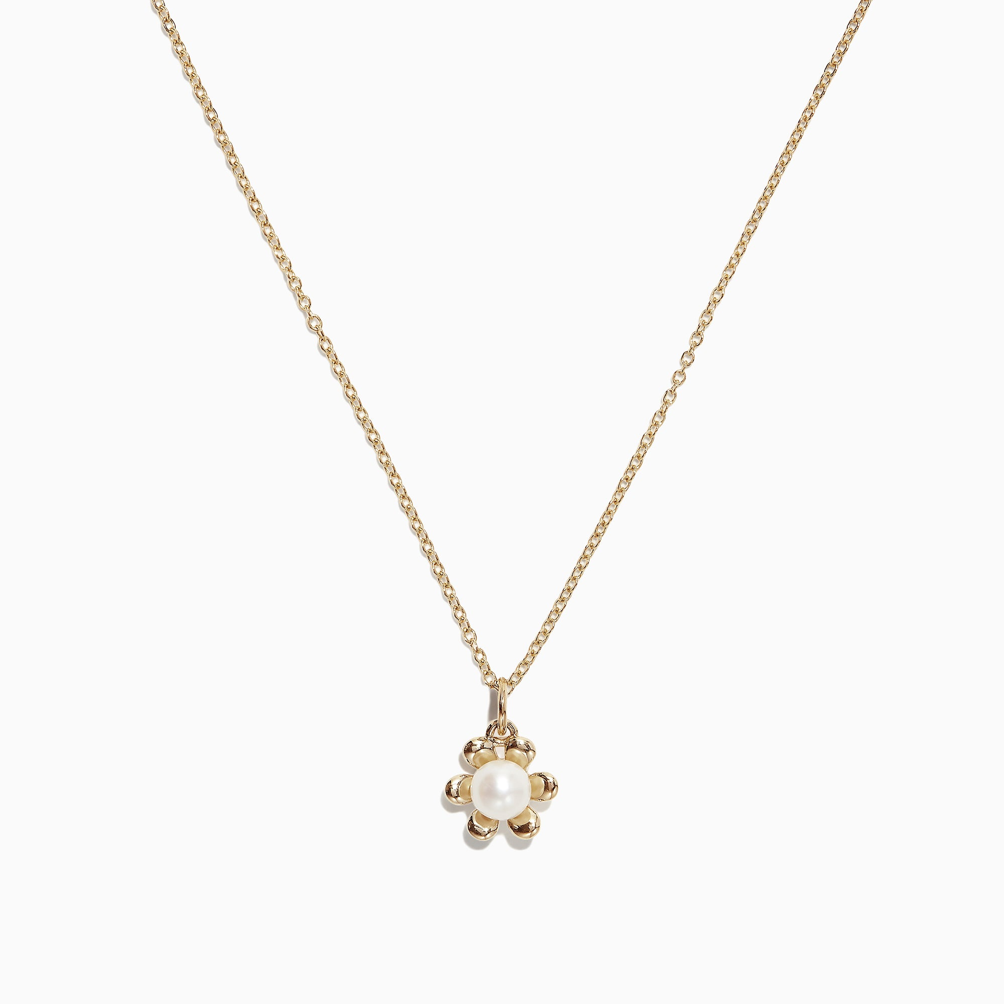 Effy Kidz 14K Yellow Gold Fresh Water Pearl Flower Pendant, 0.23 TCW
