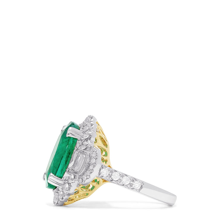 Effy Hematian 18K Two Tone Gold Fine Emerald and Diamond Ring, 9.60 TCW