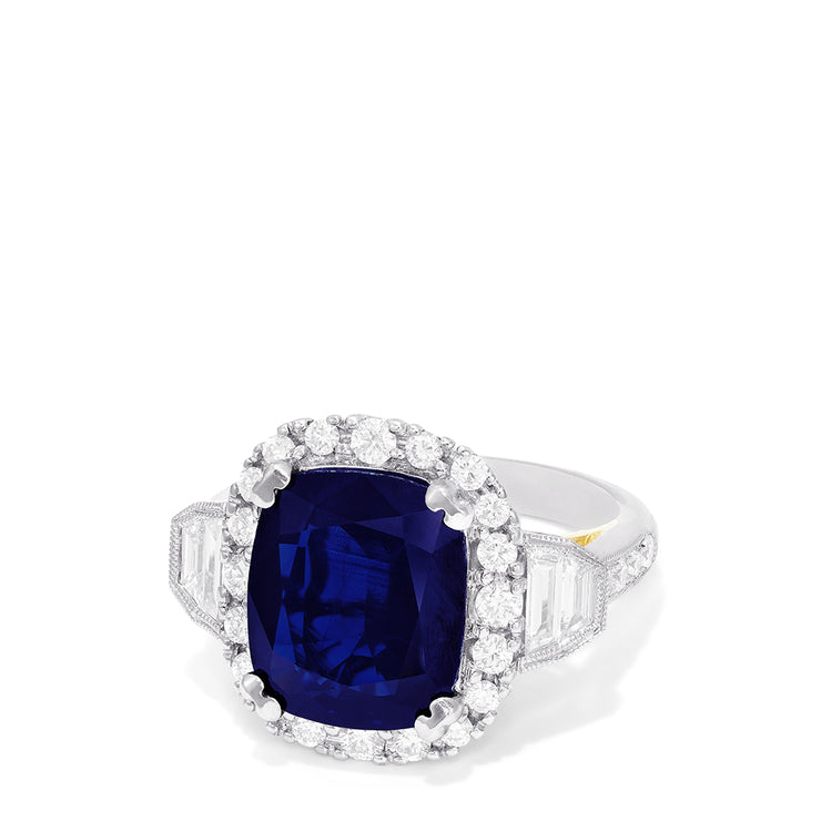 Effy Hematian 18K Two Tone Gold Sapphire and Diamond Ring, 7.29 TCW