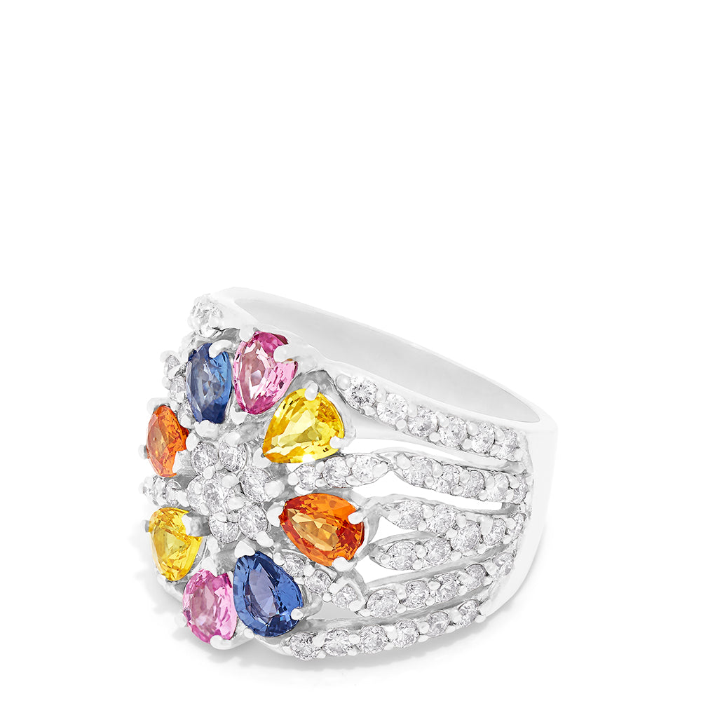 Effy Limited Edition 14K White Gold Multi Sapphire & Diamond Ring, 5.15 TCW
