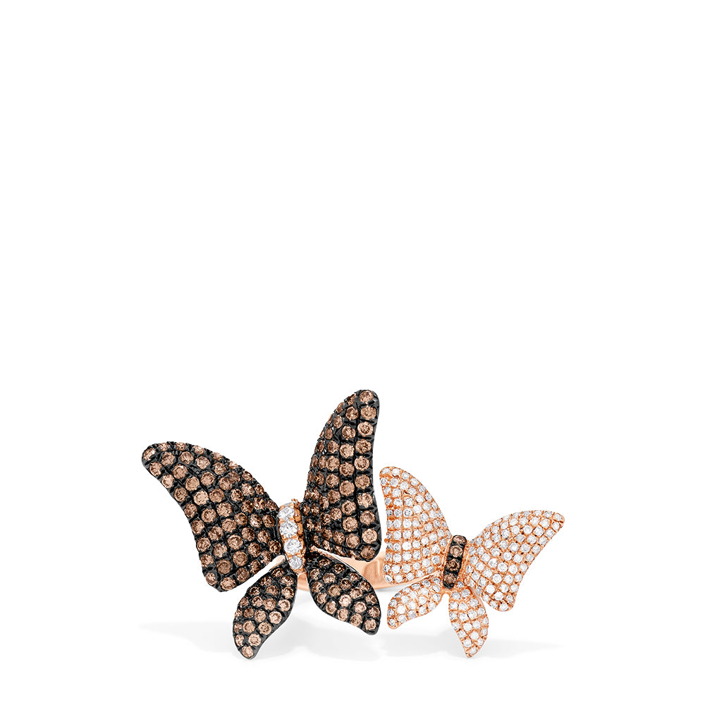Effy Limited Edition 14K Rose Gold Cognac and White Diamond Butterfly Ring