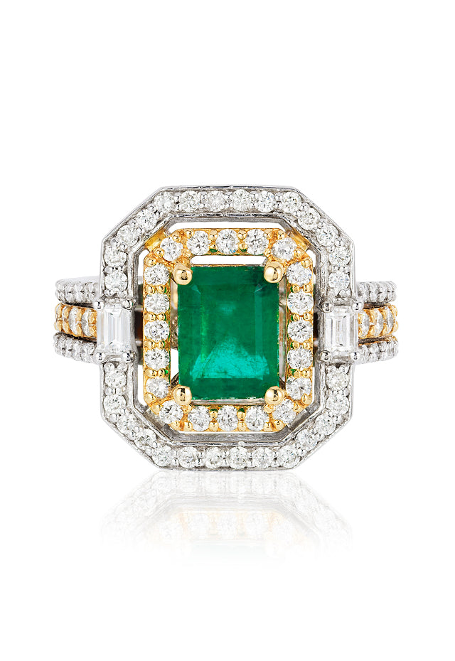 Effy Limited Edition 14K Two-Tone Gold Emerald and Diamond Ring, 3.06 TCW