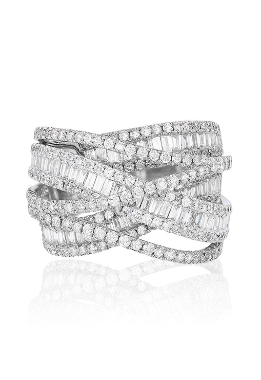 Effy Limited Edition 14K White Gold Diamond Cross Over Ring, 2.75 TCW