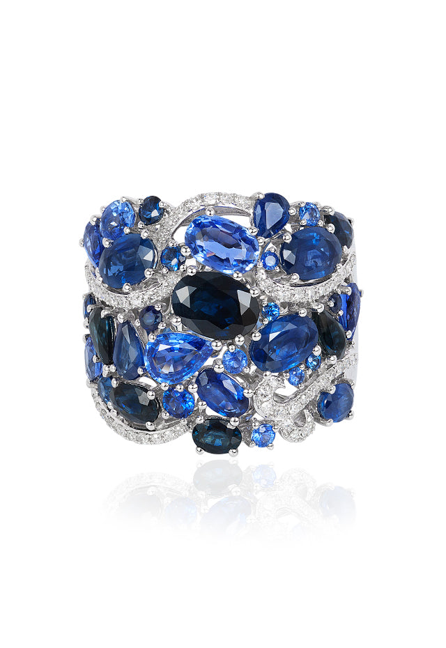 Effy Limited Edition 14K White Gold Blue Sapphire & Diamond Ring, 8.07 TCW