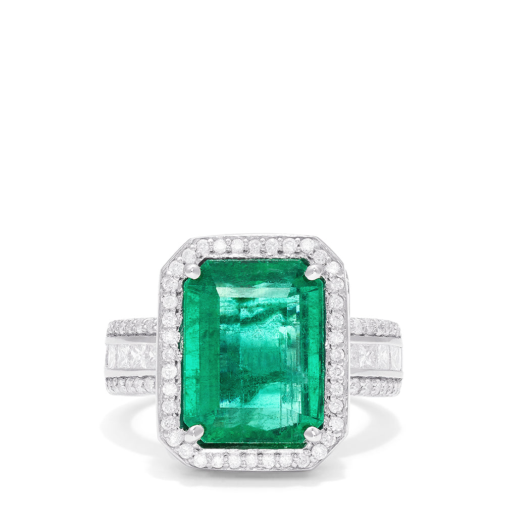 Effy Brasilica 18K White Gold Fine Emerald and Diamond Ring, 7.29 TCW
