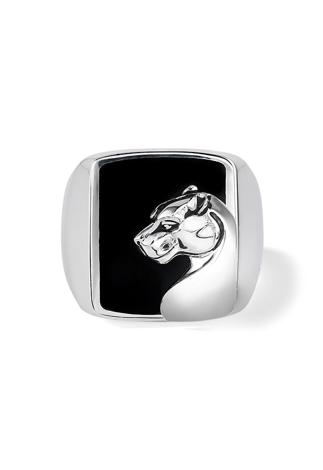 Effy Men's Sterling Silver Black Spinel Panther Ring, 7.90 TCW