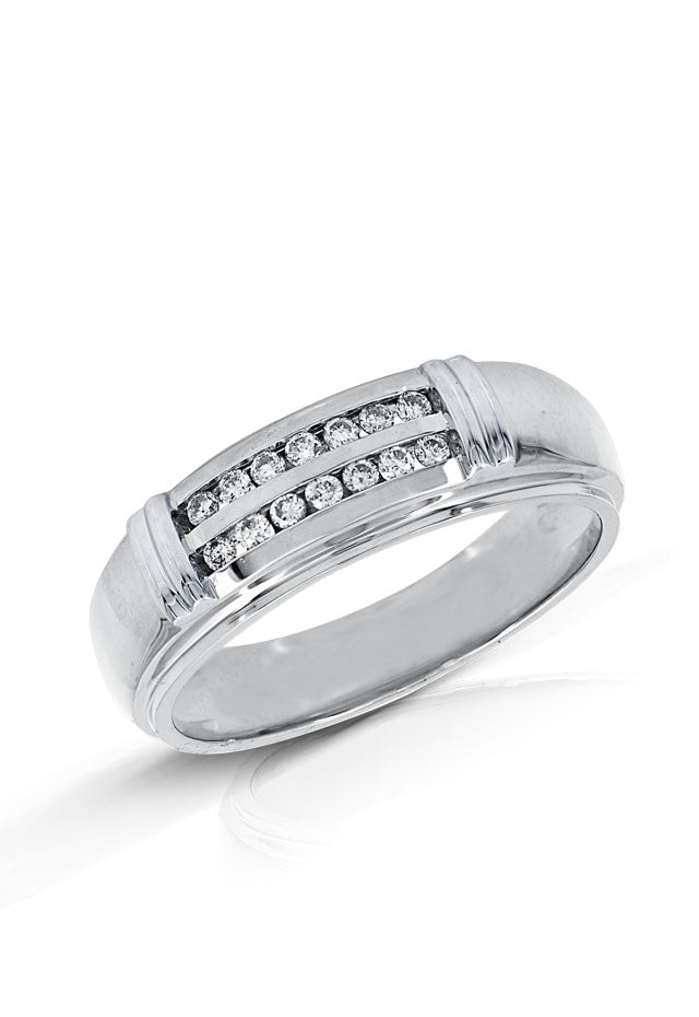 Mens 14K White Gold Diamond Ring, .25 TCW
