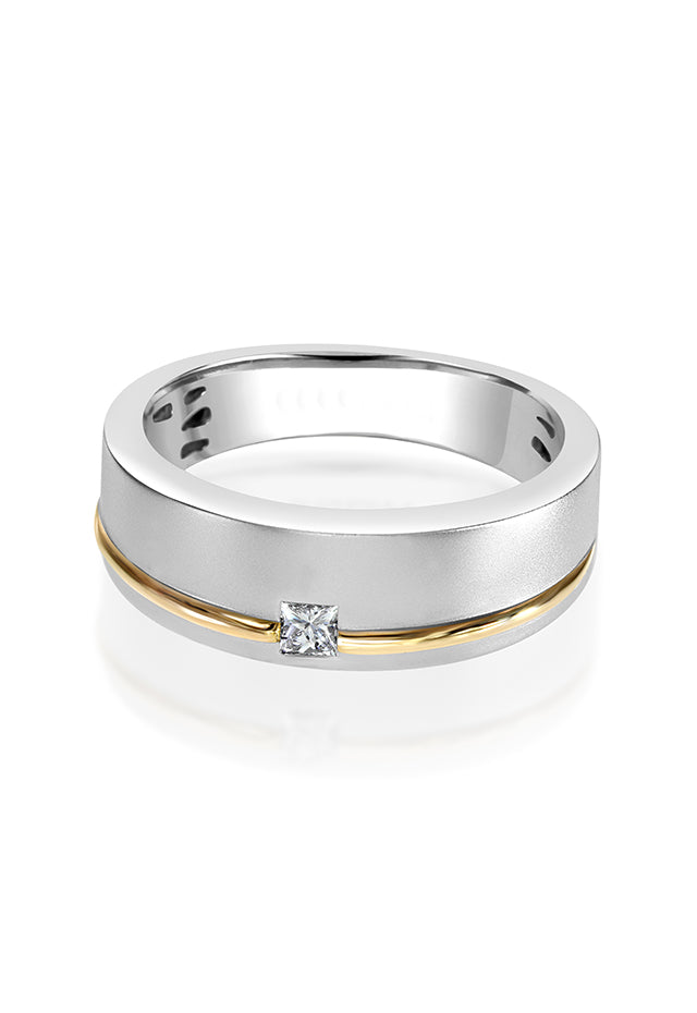 Effy Men's 14K White and Yellow Gold Diamond Ring, 0.15 TCW