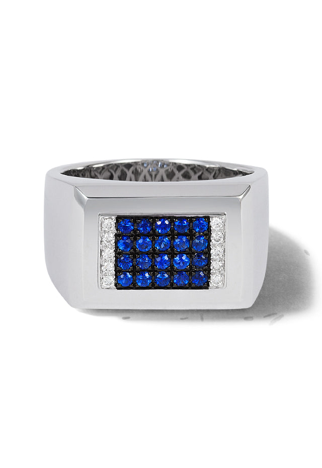 Effy Men's 14K White Gold Blue Sapphire and Diamond Ring, 0.55 TCW