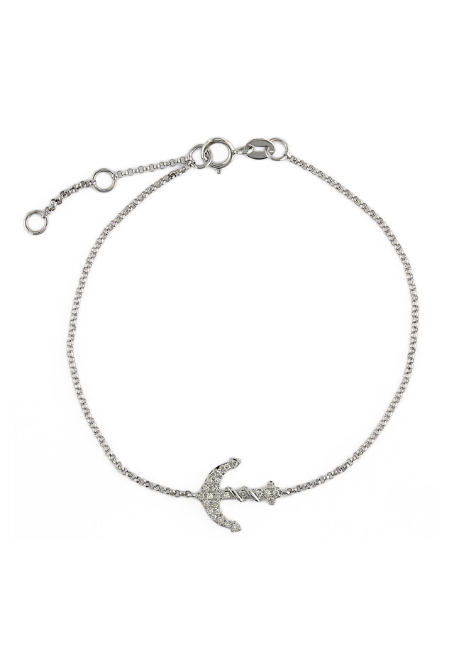 Effy Novelty 14K White Gold Diamond Anchor Bracelet, 0.10 TCW